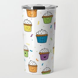 Cute Happy Fun Cupcakes with white background Travel Mug