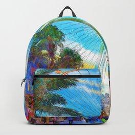 Linq Promenade at dusk, Las Vegas - Digital Watercolor Backpack