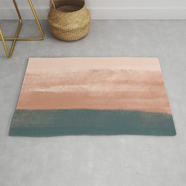 Desert Dream Waves_ Teal Green & Pink_ brush strokes abstract painting Rug