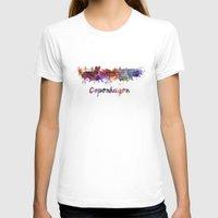 copenhagen T-shirts featuring Copenhagen skyline in watercolor by Paulrommer