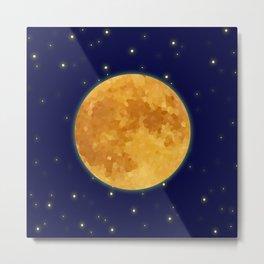 Starry Night Full Moon Metal Print