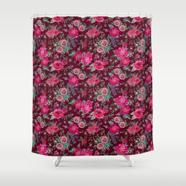 Burgundy Floral Thanksgiving , fall & winter floral in watercolor Shower Curtain