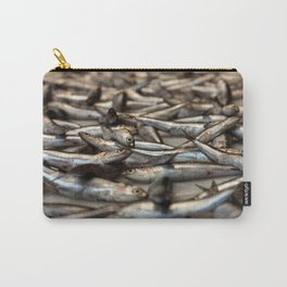 small silvery fish put on display to be sold. Fishes in the foreground and in the background unfocus Carry-All Pouch