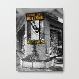Italian Vintage Shop Black and White Photography Metal Print