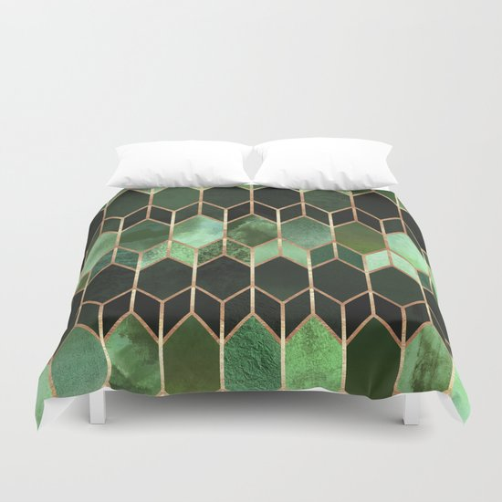 Stained Gl 5 Forest Green Duvet Cover By Elisabethfredriksson Society6