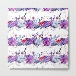 Pastel pink lavender blue watercolor succulents cactus floral Metal Print