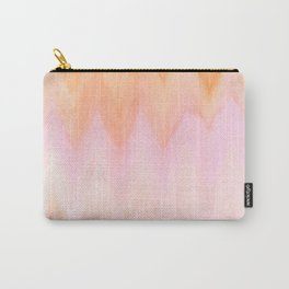 Blush pink orange watercolor hand painted ombre ikat Carry-All Pouch