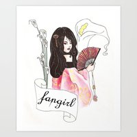 fangirl Art Prints featuring Fangirl by Zomberflie