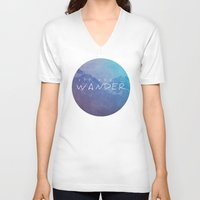 not all who wander are lost V-neck T-shirts featuring All Who Wander by Wander Creative