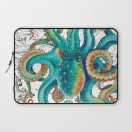Teal Octopus Tentacles Vintage Map Nautical Laptop Sleeve