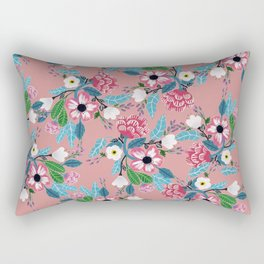 Pink Rose Garden Rectangular Pillow
