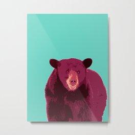 Bear poster, Brown bear, Happy bear wall art, GRIZZLY BEAR, animal bear, pop art poster Metal Print