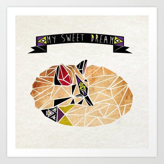 sweet dream fox  Art Print