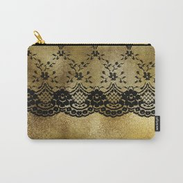 Black floral elegant lace on gold metal background Carry-All Pouch
