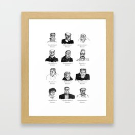 Field Guide to Man-Made Monsters (black & white) Framed Art Print