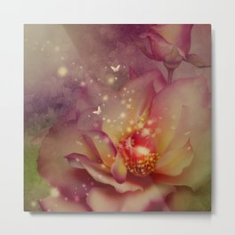 Wonderful roses with butterflies Metal Print