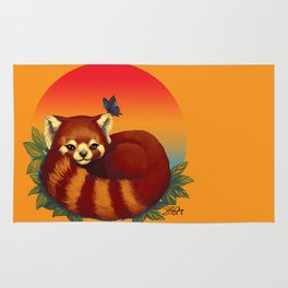 Red Panda Has Blue Butterfly Friend Rug
