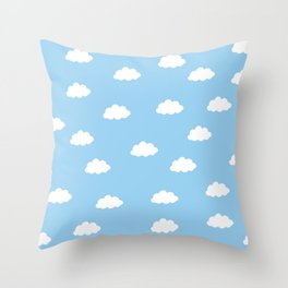 White clouds in blue background Throw Pillow