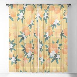 Orange Twist Flower Vibes #3 #tropical #fruit #decor #art #society6 Sheer Curtain