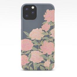 Pink peonies vintage pattern iPhone Case