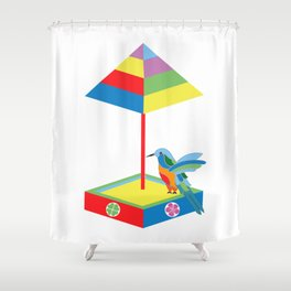 Hummingbird in a sandbox Shower Curtain