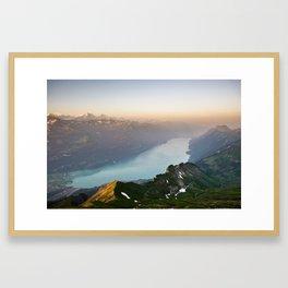 Panorama from Brienzer Rothorn at sunrise, Switzerland Framed Art Print