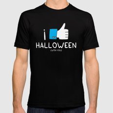 I love Halloween (with you) MEDIUM Black Mens Fitted Tee