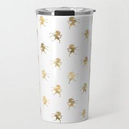 Gold Unicorn Pattern Travel Mug