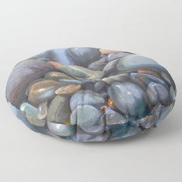 River Stones in Oil Floor Pillow