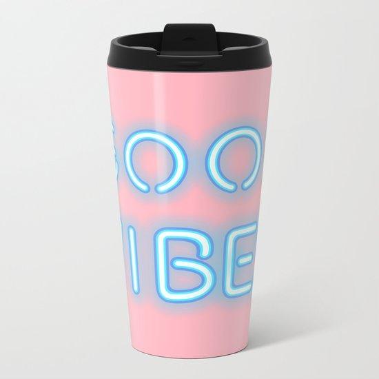 Good vibes (pastel) Metal Travel Mug