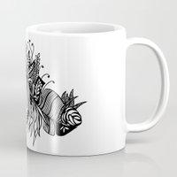 banana leaf Mugs featuring Banana Leaf Black & White Doodle Art by martywoodskk