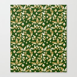 Christmas pattern.Gold sprigs on a dark green background. Canvas Print