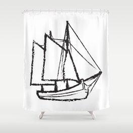Ship Line Art Shower Curtain