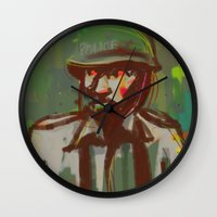 police Wall Clocks featuring Police by Steeze Abiola