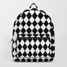 Classic Black and White Harlequin Diamond Check Backpack