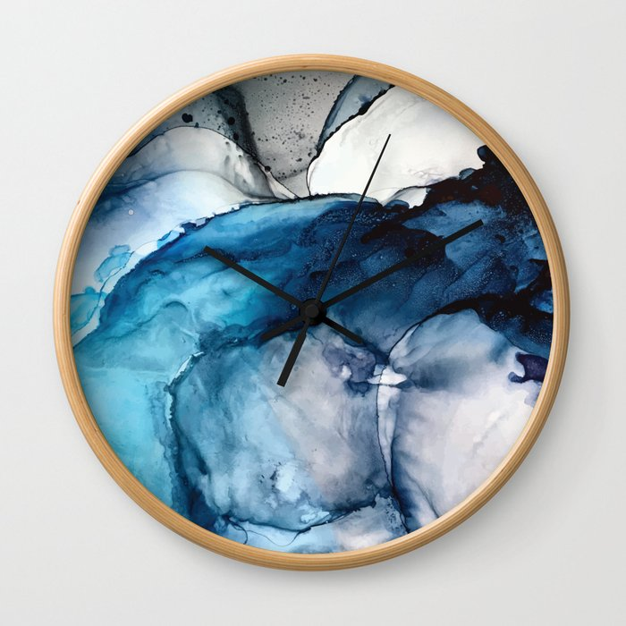 White Sand Blue Sea - Alcohol Ink Painting Wall Clock