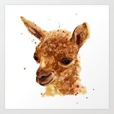 Alpaca Painting, alpaca print, animal art print, alpaca Art Print