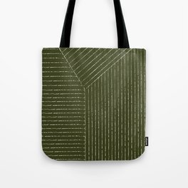 Lines (Olive Green) Tote Bag