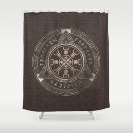 The Helm of Awe Brown Leather and gold Shower Curtain
