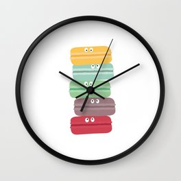 Colorful macarons with eyes Wall Clock