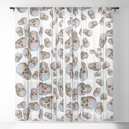 Happy Skull Random Pattern (White) Sheer Curtain