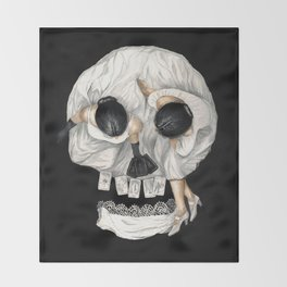 Tarot Reader Girl - Optical Illusion Skull Throw Blanket
