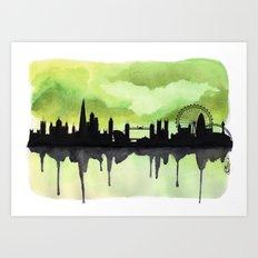 London Skyline 2 Lime Art Print