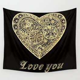 golden heart I love you Wall Tapestry