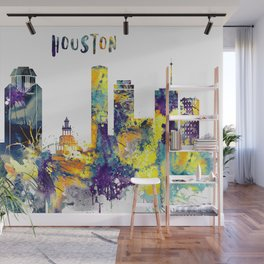 Houston City Skyline Wall Mural