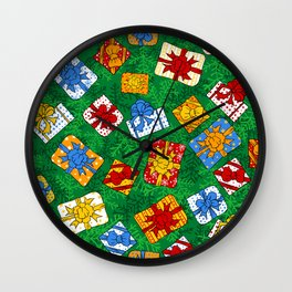 Christmas gifts pattern Wall Clock