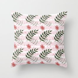 Green leaf with pink flower watercolor pattern Throw Pillow