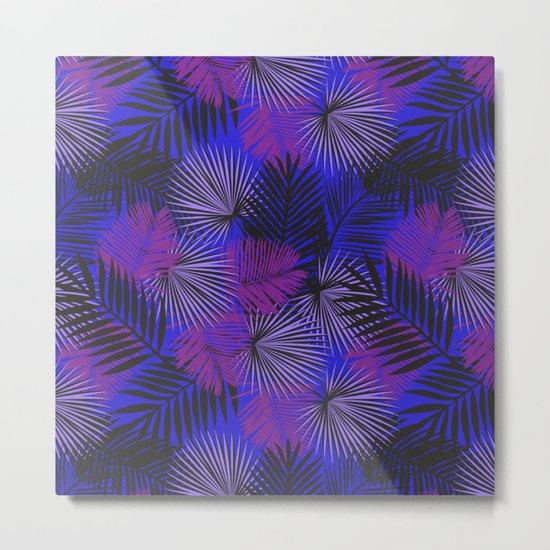 Tropical Black Purple & Blue Metal Print