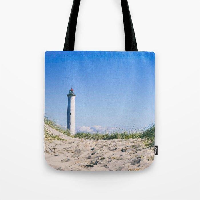 Nantucket Beach Lighthouse Tote Bag