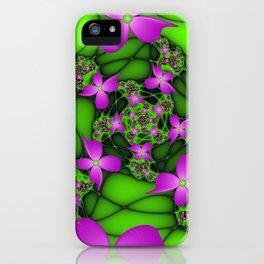 Fantasy Flowers Neon Colors, Floral Fractal Art iPhone Case